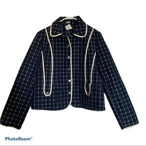 Blue and White Quilted Look Jacket size